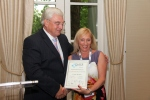 Lorraine Collins of Uxbridge College receives the Frock n Roll certificate